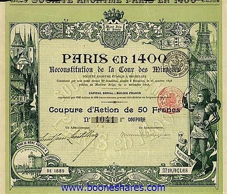 PARIS EN 1400 RECONSTITUTION DE LA COUR DES MIRACLES S.A.