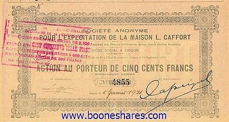 EXPLOITATION DE LA MAISON L. CAFFORT, S.A. POUR L'