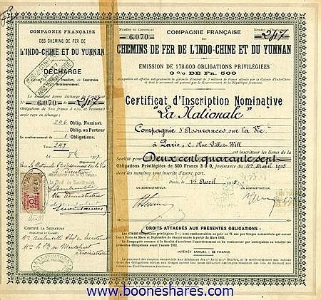 C.D.F. DE L'INDO-CHINE & DU YUNNAN S.A., CIE. FRANCAISE DES