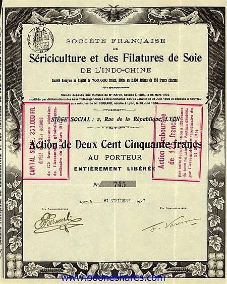 SERICICULTURE ET DES FILATURES DE SOIE DE L'INDO-CHINE, SOC. FR. DE