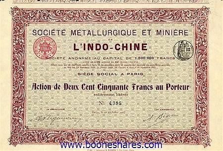 METALLURGIQUE ET MINIERE DE L'INDO-CHINE, SOC.