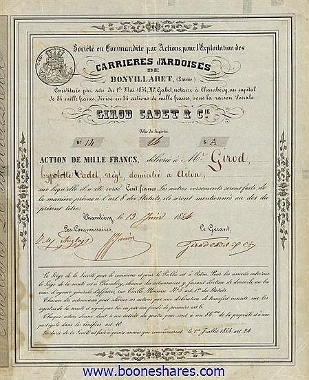EXPLOITATION DES CARRIERES D'ARDOISES DE BONVILLARET, SOC. - GIROD CADET & CIE.