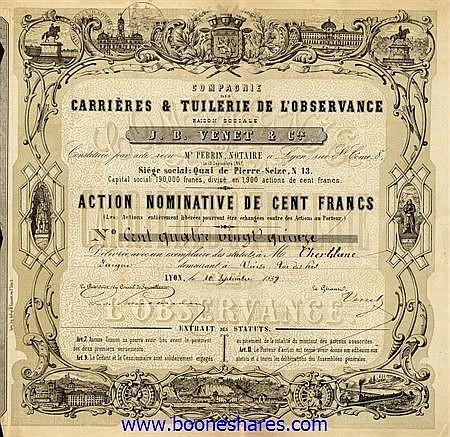CARRIERES & TUILERIE DE L'OBSERVANCE, CIE. DES - J. B. VENET & CIE.
