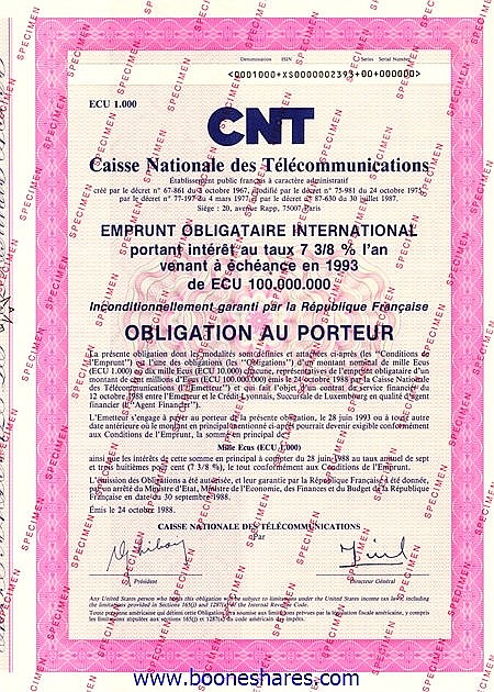 CAISSE NATIONALE DES TELECOMMUNICATIONS - CNT