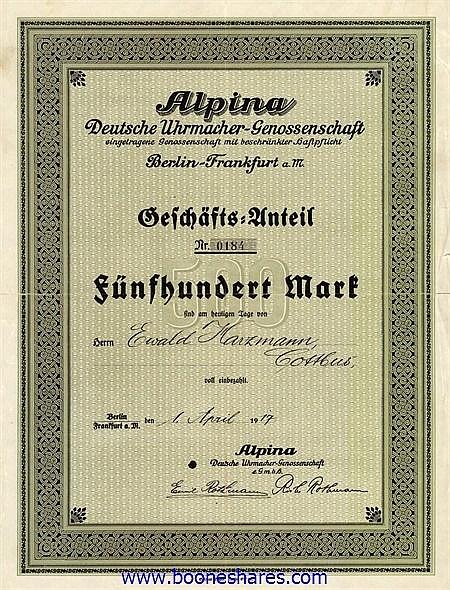 ALPINA DEUTSCHE UHRMACHER-GENOSSENSCHAFT, e.G.m.b.H.