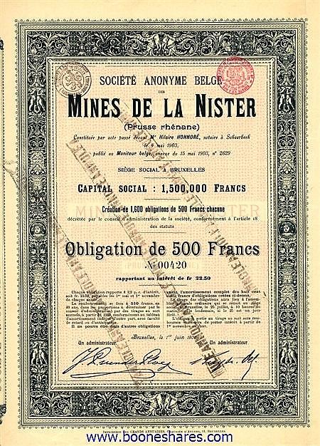 MINES DE LA NISTER (PRUSSE RHENANE)