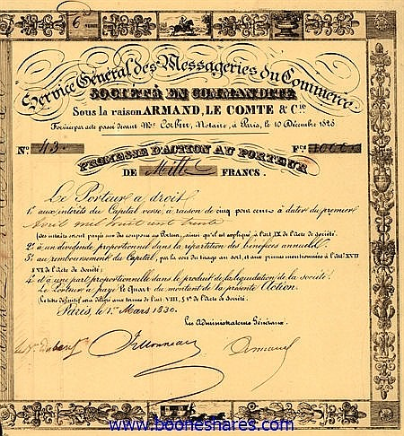 SERVICE GENERAL DES MESSAGERIES DU COMMERCE SOC. EN COMM. - ARMAND, LE COMTE & CIE., SOUS LA RAISON