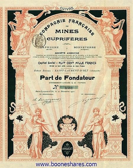 MINES CUPRIFERES, CIE. FR. (2 types)