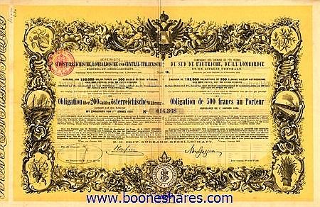 VEREINIGTE SÜDÖSTERREICHISCHE, LOMBARDISCHE UND CENTRAL-ITALIENISCHE EISENBAHN-GES.