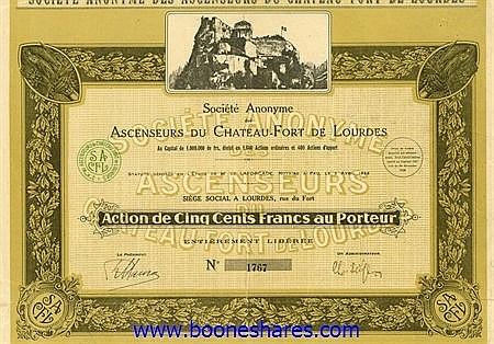 ASCENSEURS DU CHATEAU-FORT DE LOURDES, S.A. DES