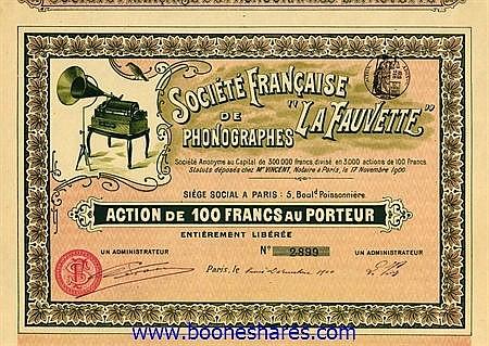 LA FAUVETTE, SOC. FRANCAISE DE PHONOGRAPHES S.A.
