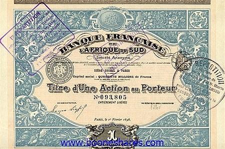 BANQUE FRANCAISE DE L'AFRIQUE DU SUD (2 types)
