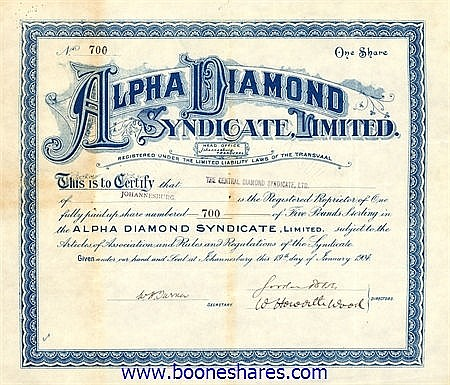 ALPHA DIAMOND SYNDICATE LTD