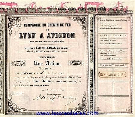 C.D.F. DE LYON A AVIGNON AVEC EMBRANCHEMENT SUR GRENOBLE, CIE. DU