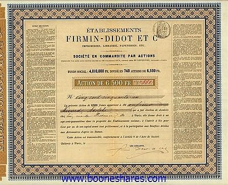 FIRMIN-DIDOT ET CIE. IMPRIMERIES, LIBRAIRIE, PAPETERIES, ETC., ETS. (2 types)