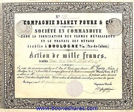BLANZY POURE & CIE., SOC. POUR LA FABRICATION DES PLUMES METALLIQUES ET LE TRAVAIL DES METAUX