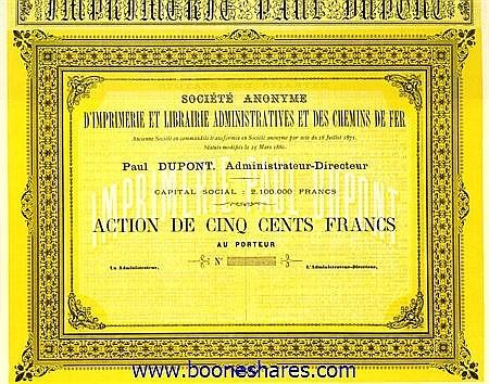 IMPRIMERIE ET LIBRAIRIE ADMINISTRATIVES ET DES C.D.F., S.A. D' - IMPRIMERIE PAUL DUPONT