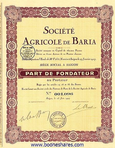 AGRICOLE DE BARIA, SOC.