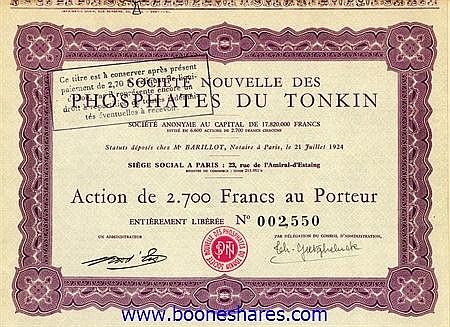 PHOSPHATES DU TONKIN, SOC. NOUVELLE DES