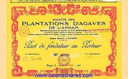 PLANTATIONS D'AGAVES DE L'ANNAM