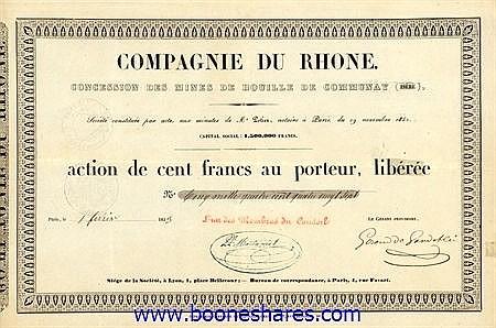 RHONE, CIE. DU - CONCESSION DES MINES DE HOUILLE DE COMMUNAY
