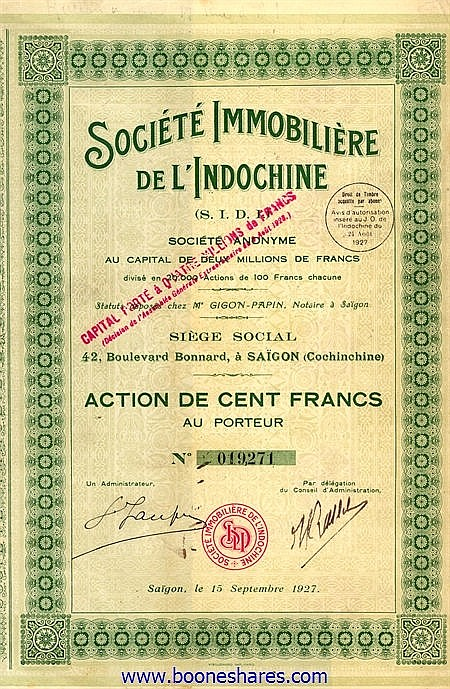 IMMOBILIERE DE L'INDOCHINE, SOC.