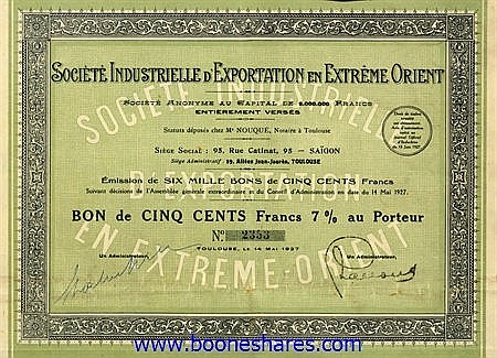 EXPORTATION EN EXTREME-ORIENT, SOC. INDUSTRIELLE D'