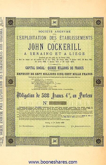 JOHN COCKERILL, S.A. POUR L'EXPLOITATION DES ETS. A SERAING ET LIEGE