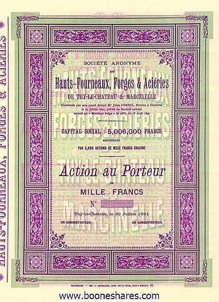 HAUTS-FOURNEAUX, FORGES ET ACIERIES DE THY-LE-CHATEAU & MARCINELLE, S.A.DES