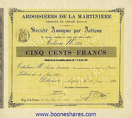 ARDOISIERES DE LA MARTINIERE S.A.