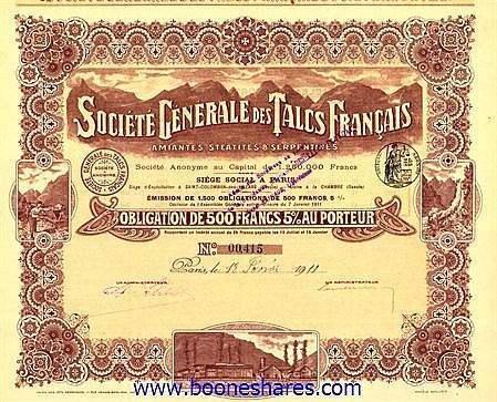 TALCS FRANCAIS AMIANTES, STEATITES & SERPENTINES, SOC. FR.