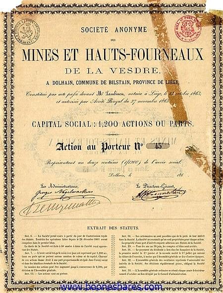 MINES ET HAUTS-FOURNEAUX DE LA VESDRE, S.A. DES