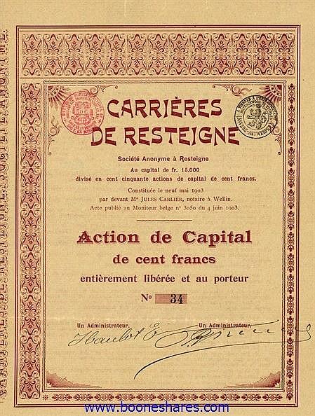 CARRIERES DE RESTEIGNE S.A.
