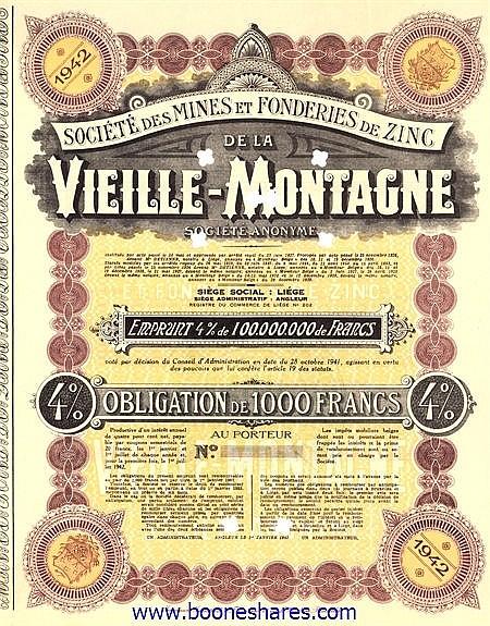 MINES ET FONDERIES DE ZINC DE LA VIEILLE-MONTAGNE, SOC. DES