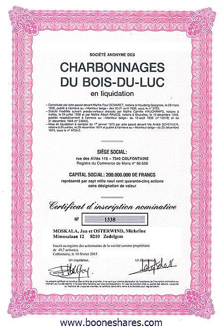CHARB. DU BOIS-DU-LUC EN LIQ., S.A.