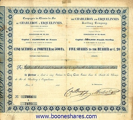 C.D.F. DE CHARLEROY A ERQUELINNES, CIE.DU, FRONTIERE DE FRANCE