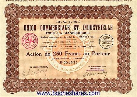 UNION COMMERCIALE ET INDUSTRIELLE POUR LA MANDCHOURIE S.A.