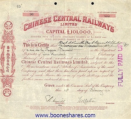 CHINESE CENTRAL RAILWAYS LTD.