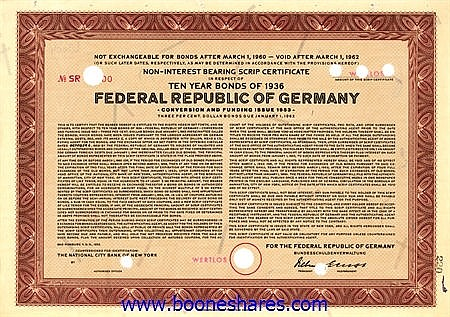 FEDERAL REPUBLIC OF GERMANY - BONDS OF 1936