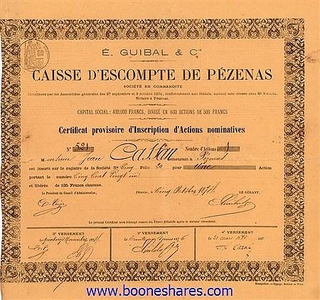 CAISSE D'ESCOMPTE DE PEZENAS - E. GUIBAL & CIE.