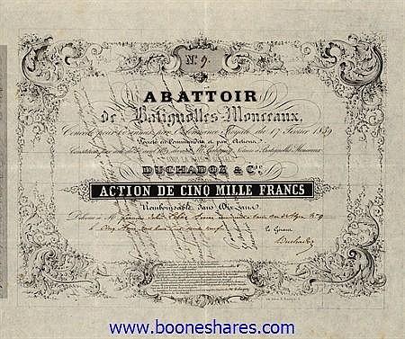 ABATTOIR DE BATIGNOLLES-MONCEAUX - DUCHADOZ & CIE.