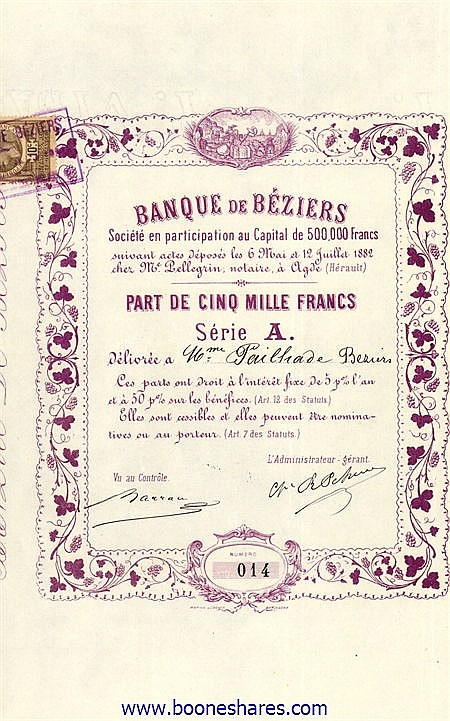 BANQUE DE BEZIERS SOC.
