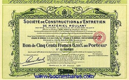 CONSTRUCTION & D'ENTRETRIEN DE MATERIEL ROULANT, SOC. DE