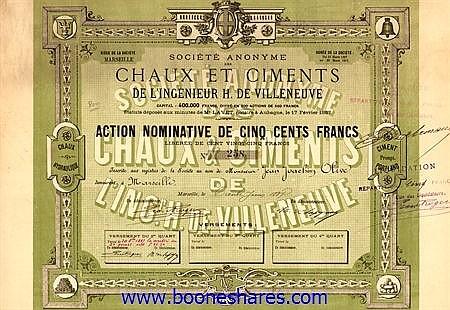 CHAUX ET CIMENTS DE L'INGENIEUR H. DE VILLENEUVE, S.A. DES