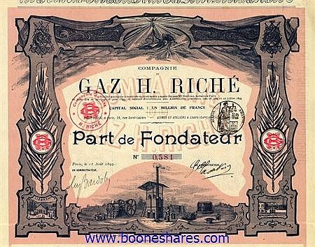 GAZ H. RICHE S.A., CIE. DU (2 types)