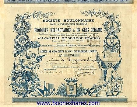 PRODUITS REFRACTAIRES & EN GRES CERAME, SOC. BOULONNAISE POUR LA FABRICATIONGENERALE DES