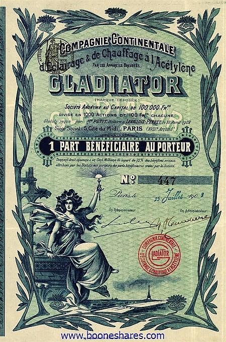 GLADIATOR S.A., CIE. CONT. D'ECLAIRAGE & DE CHAUFF. A L'ACETYLENE