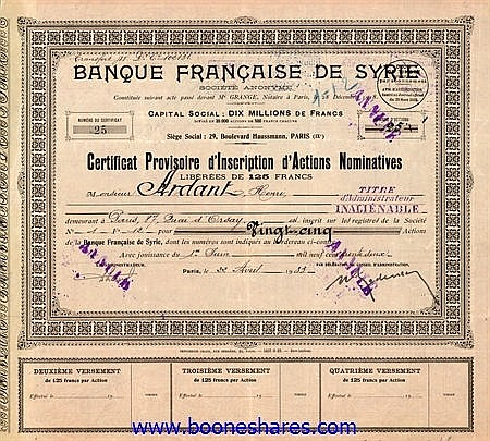 BANQUE FRANCAISE DE SYRIE S.A.