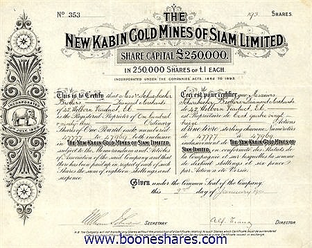 NEW KABIN GOLD MINES OF SIAM LTD