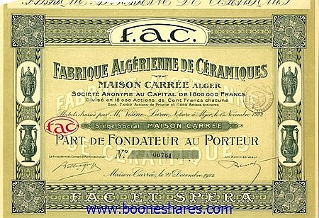 FABRIQUE ALGERIENNE DE CERAMIQUES